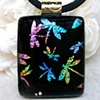 DRAGONFLIES...Fused Dichroic Glass Pendant