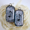 MUSIC NOTE Fused Dichroic Glass Earrings
