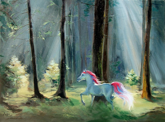 aimee kuester painting art artwork unicorn forest oil paint magical the last unicorn
