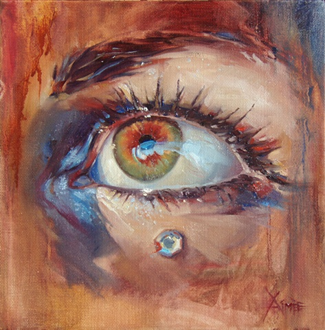 aimee kuester artist painting oil paint colorful self portrait eye art artwork commission green eyes brown