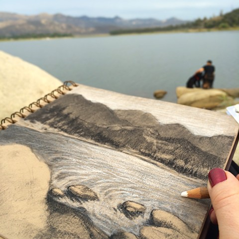 Plein Air Sketch of Lake Hemet, CA