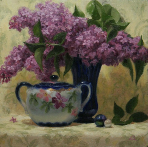 """sugar bowl and lilacs"""