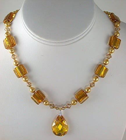 Topaz CZ with Gold Foil & Crystal
