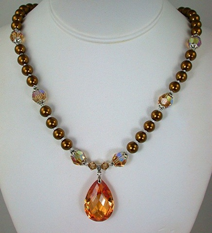 Champagne Cubic Zirconia and Bronze Pearls