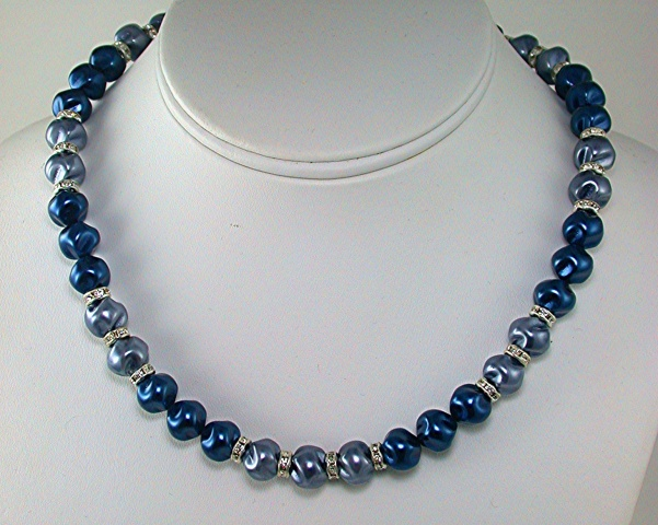 Blue and Grey Swirl Pearls with Crystal Rondells