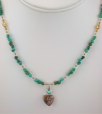 Fresh Water Pearl Heart and Turquoise