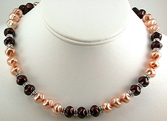 Brown and Pink Rose Swirl Pearls