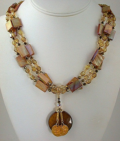 Golden Shell Multi-Strand Necklace