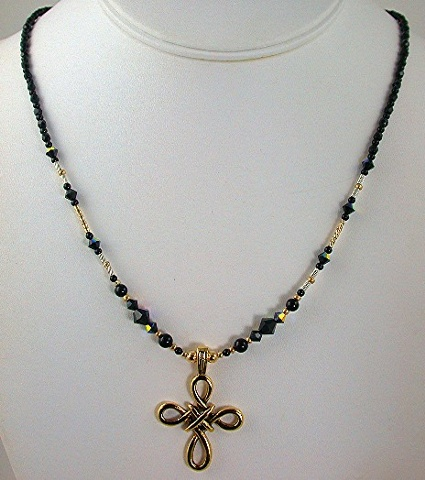 Pewter Cross with gold fill