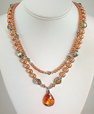 Cubic Zirconia Drop with Peach Lite Pearls and Swarovski Crystal.