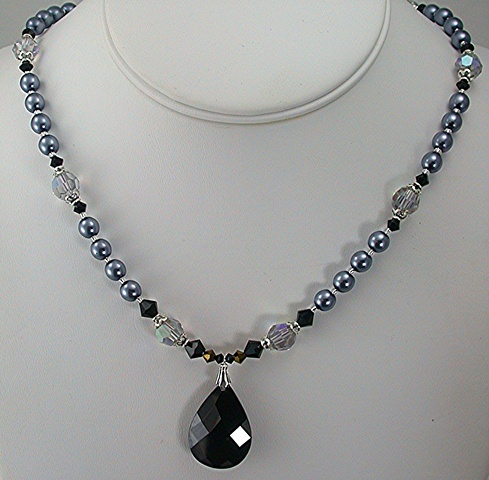 Jet Cubic Zirconia and Grey Storm Pearls