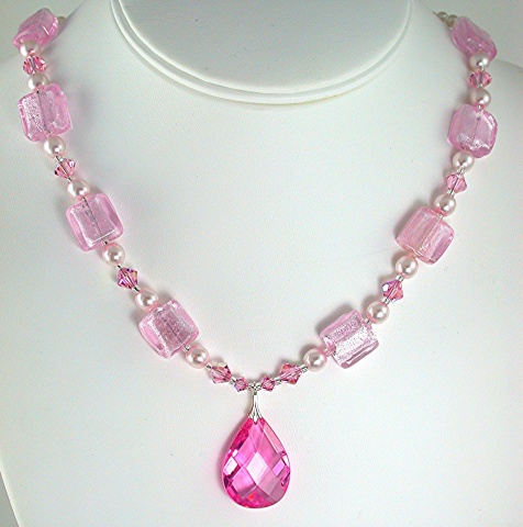 Pink Cubic Zirconia and Pearl