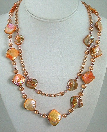 Shell and Peach Transluscent Pearls