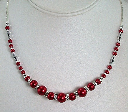 Red Pearls with Crystal