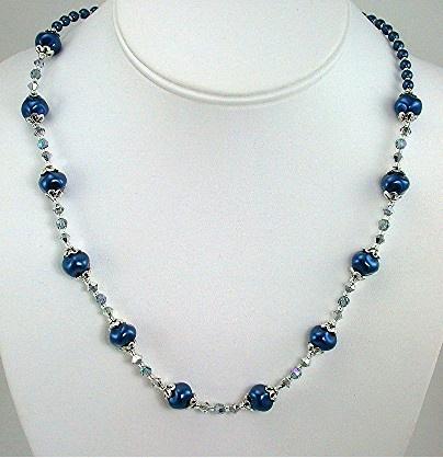 Royal Blue Swirl pearls and Swarovski Crystal