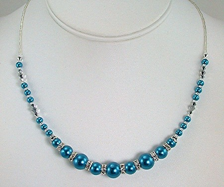 Blue Pearls with Crystal Rondells