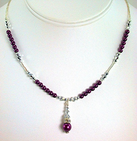 Purple pearl Drop with Crystal