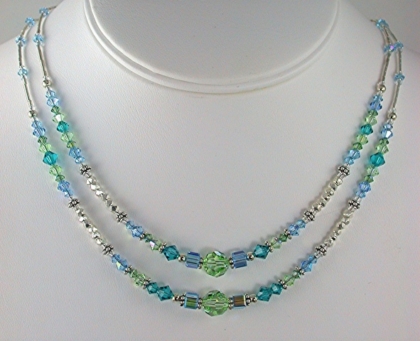 Chrysolite Green and Blue Crystal Necklace
