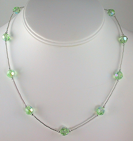 Chrysolite Green Crystal and Silver Necklace