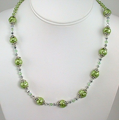 Spring Green Swirl Pearls and Swarovski Crystal