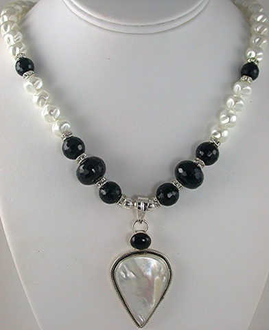 Mother of Pearl Pendant with Onyx and Glass pearls