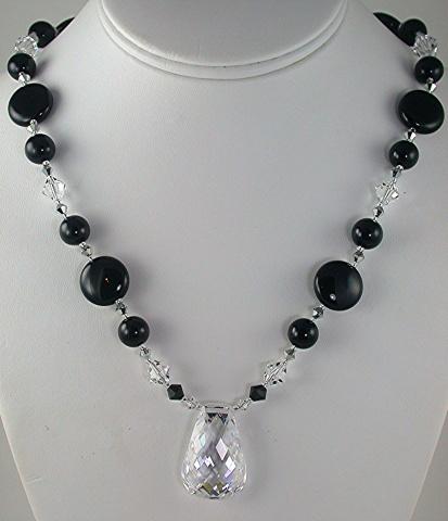 Crystal Cubic Zirconia on Onyx & Swarovski Crystal
