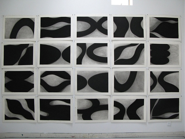 FLOW Studio Installation Twenty charcoal drawings