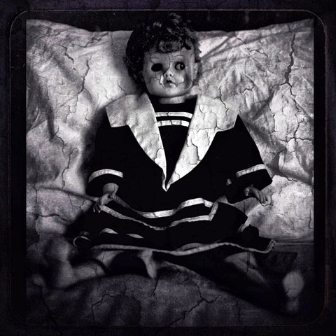 doll, horror, black and white