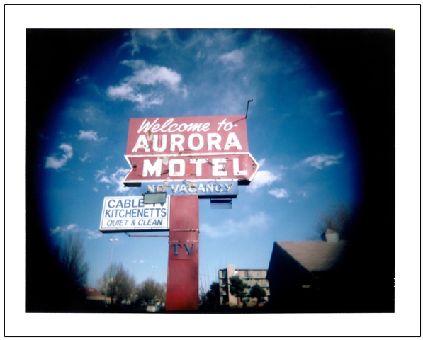 Aurora Motel sign Colfax Avenue Denver CO colorado polaroid Holgaroid