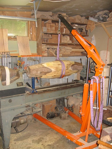 Loading a blank for some boat forms on the lathe