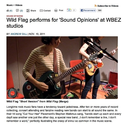 Wild Flag on WBEZ's Sound Opinions