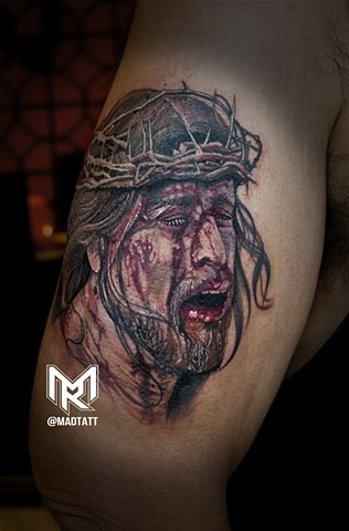 Religious Tattoos, Portraits, Color tattoos, Colour Tattoos, Canada, Toronto, Toronto Tattoo Artists, Artist, Bloody