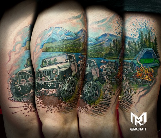 Custom Jeep and Outdoor inspired tattoo