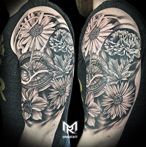 Custom Time and Floral Family Tattoo