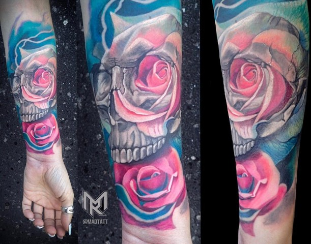 Custom Skull and Rose