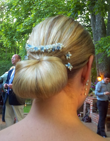 Ellen Kryger Fantini wearing comb and pin combination on her wedding day