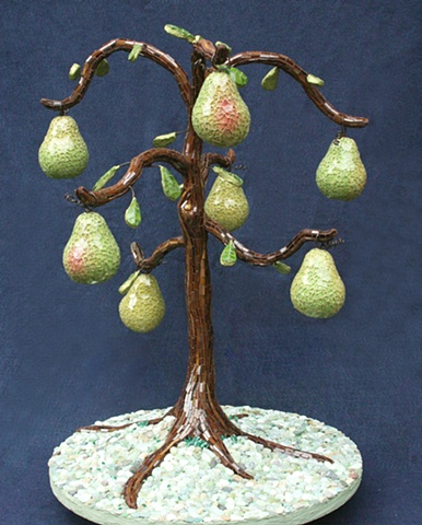 pear tree mosaic art sculpture
