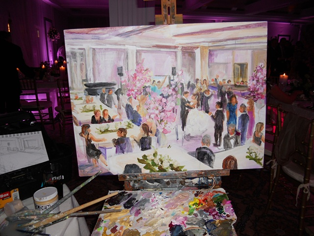 Painting in progress at the reception