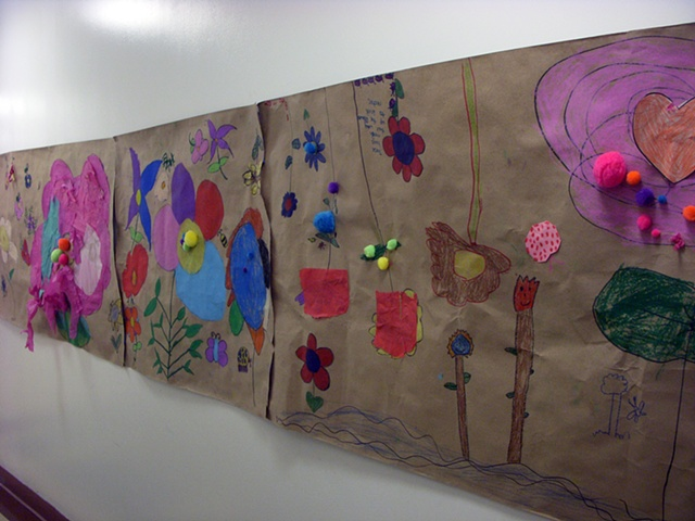 Original brown paper flower garden mural by students