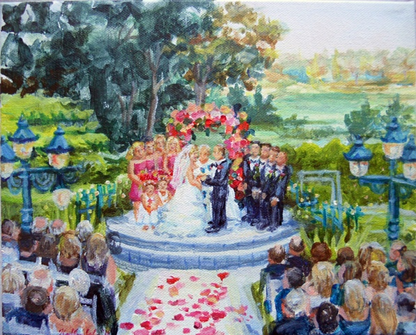 Kate and Ray's Wedding (small painting of ceremony, done from a photo)