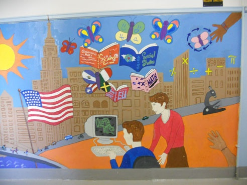 Detail, mural with additions by students in 2010