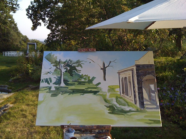 Painting in progress: putting in the background before guests arrive at the reception