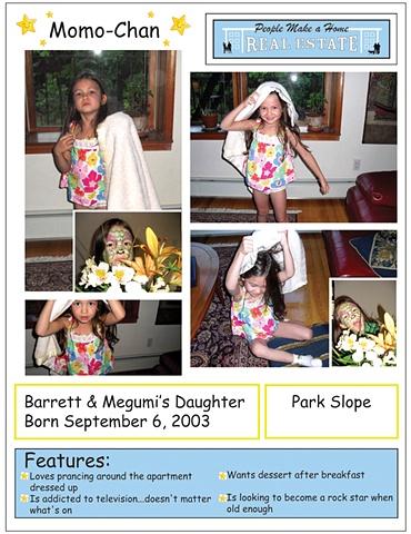 """Sample """"People Posting:"""" Barrett and Megumi's Daughter Momo-Chan"""