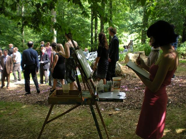 Painting easel setup at Damon and Sara's wedding at Catoctin Quaker Camp