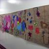 Original brown paper flower garden mural by students