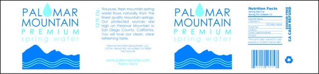 Palomar Water Label Redesign