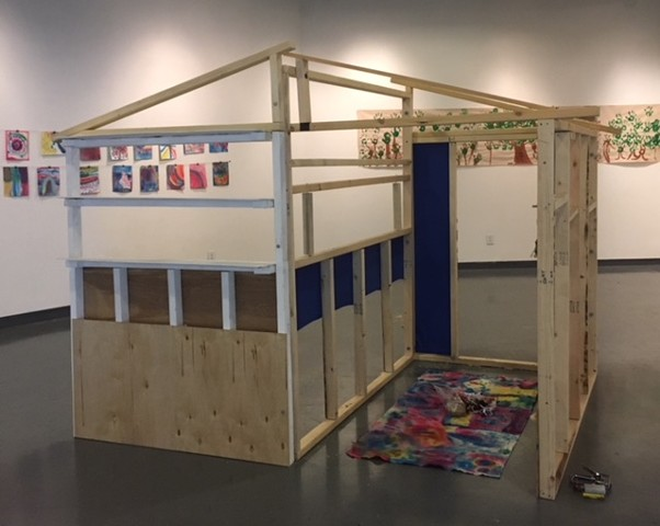 """A house is a house for me,"" wood-framed structure for UNM Art Museum summer program, made with students ages 4 - 9"