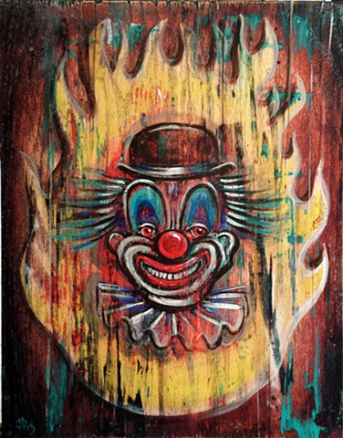 Painting of an old and distressed clown sign with fireball background