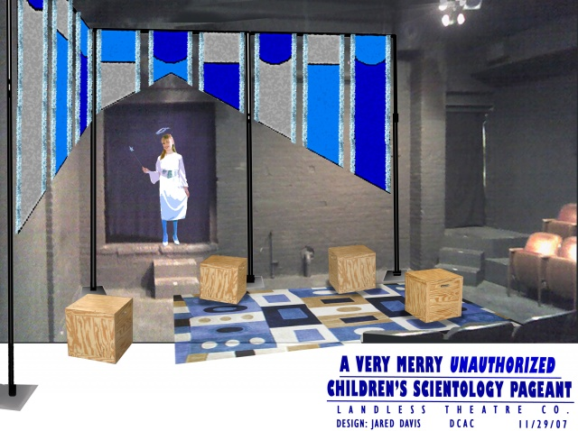 Set Design for A Very Merry Children's Scientology Pageant, Landless Theater Co.