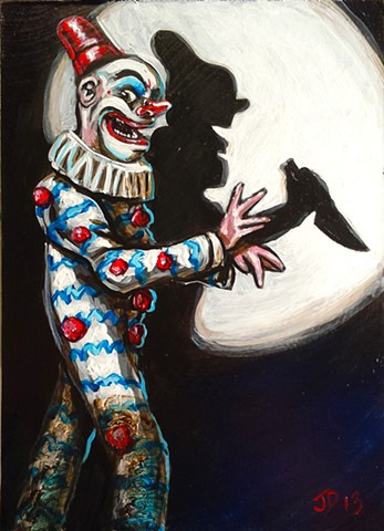 Painting of a creepy clown doing shadow puppetry